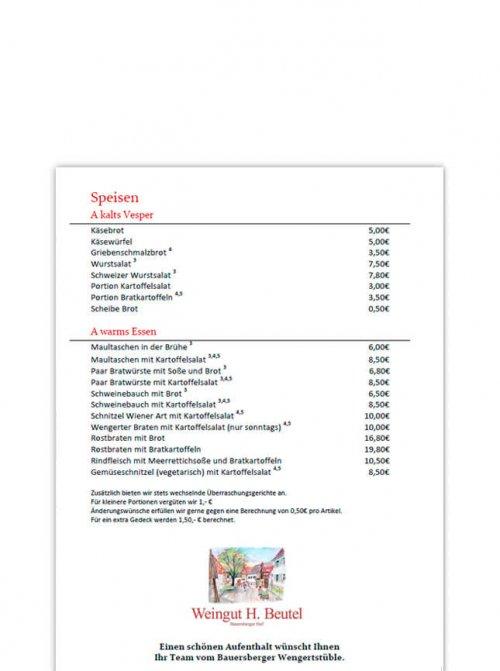 Speisekarte Weingut Beutel