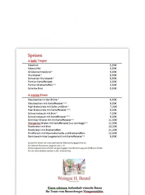 Wengertstüble Speisekarte