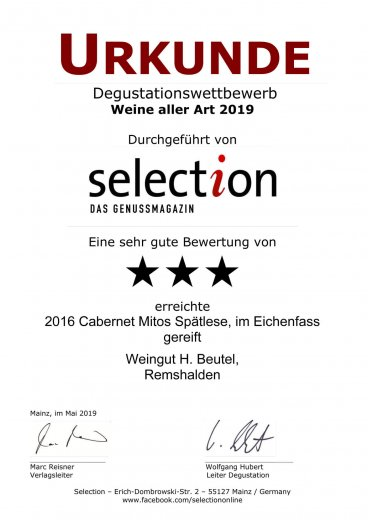 Urkunde Selection Cabernet Mitos Spätlese, im Eichenfass gereift 2016