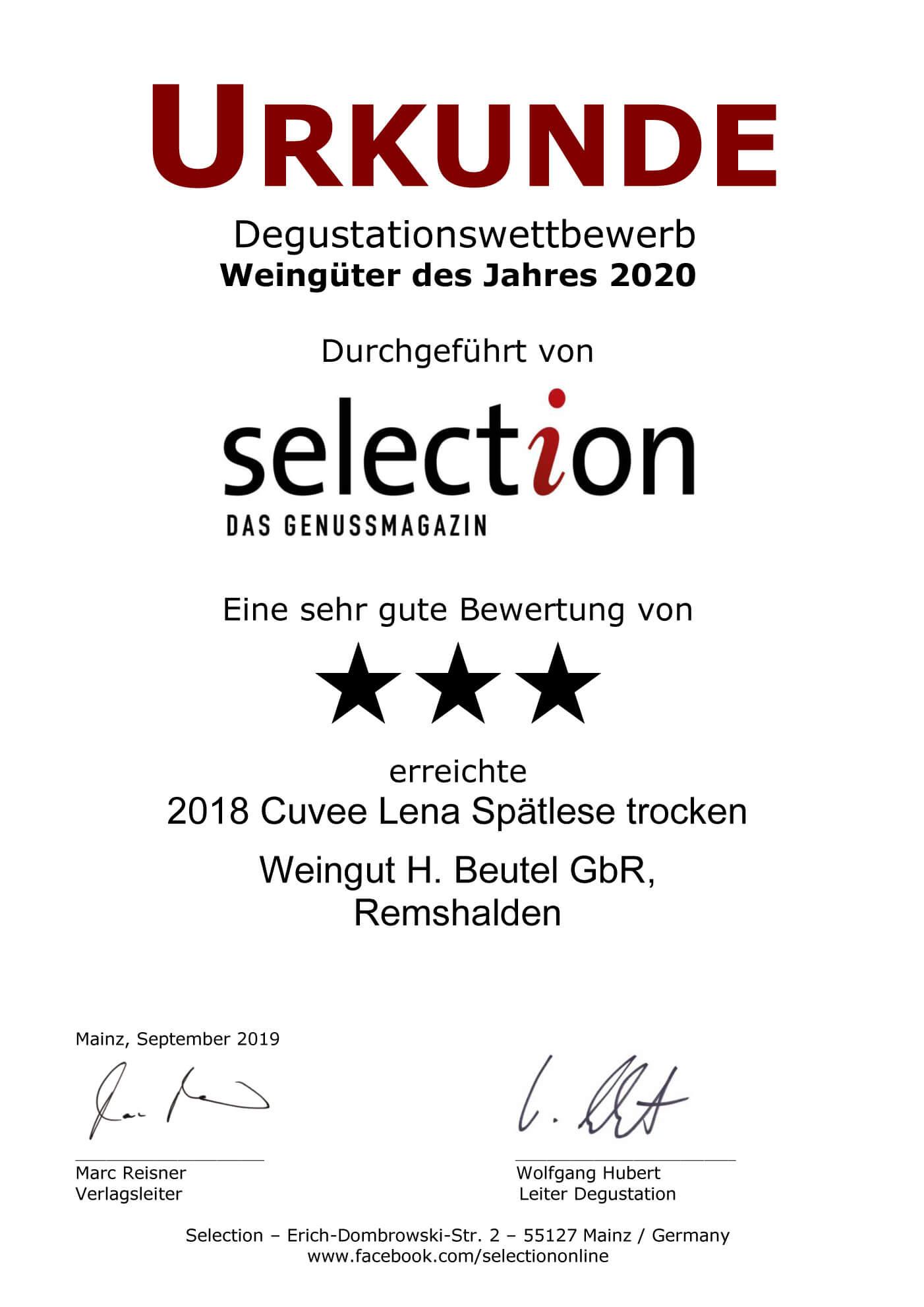 Urkunde Selection-Weingüter 2020- Cuvee Lena Spätlese