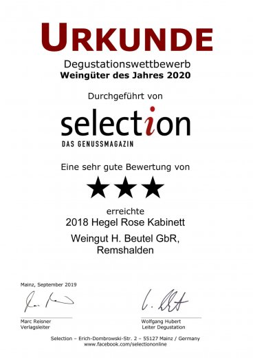 Urkunde Selection 2020 - Hegel Rose Kabinett 2018
