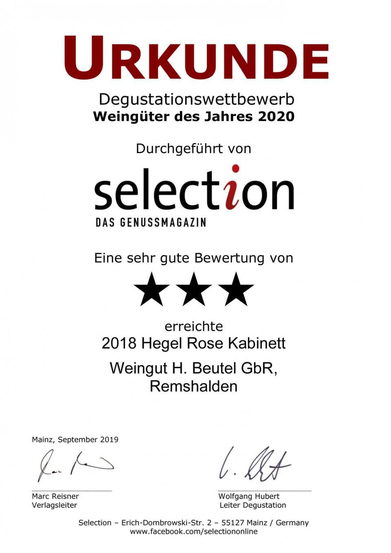 Urkunde Selection 2020 - Hegel Rose Kabinett 2018