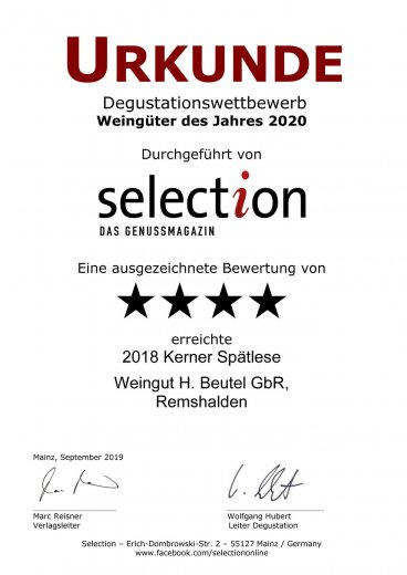 selection weingüter 2020 Kerner Spätlese 2018