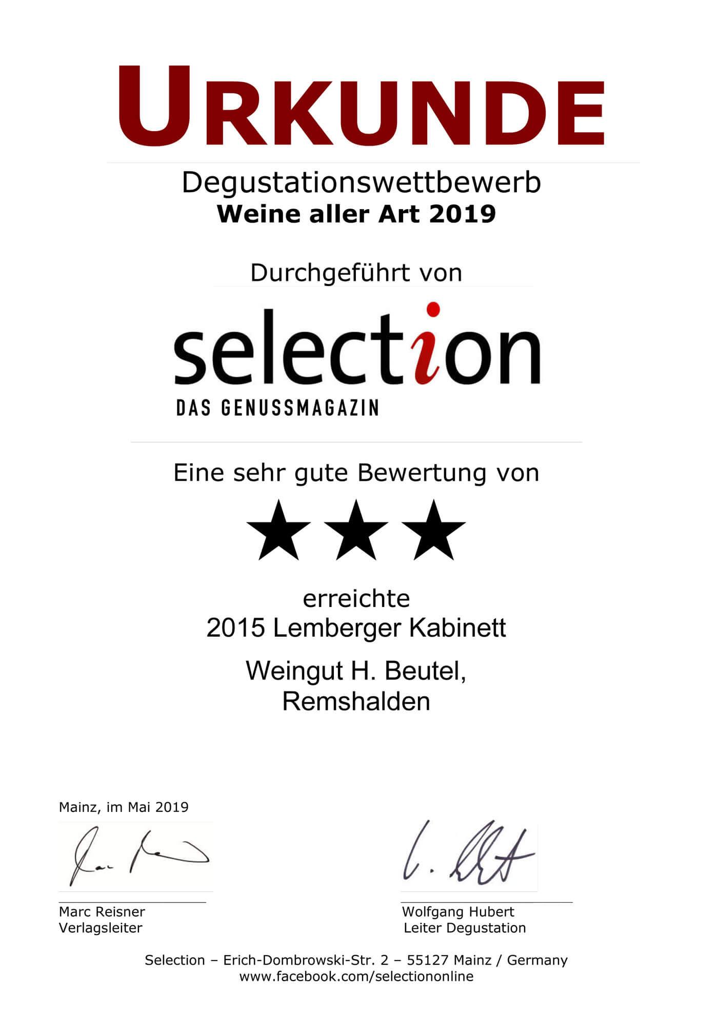 Urkunde SELECTION 2019 Weine aller Art - SEHR GUT - Lemberger Kabinett 2015