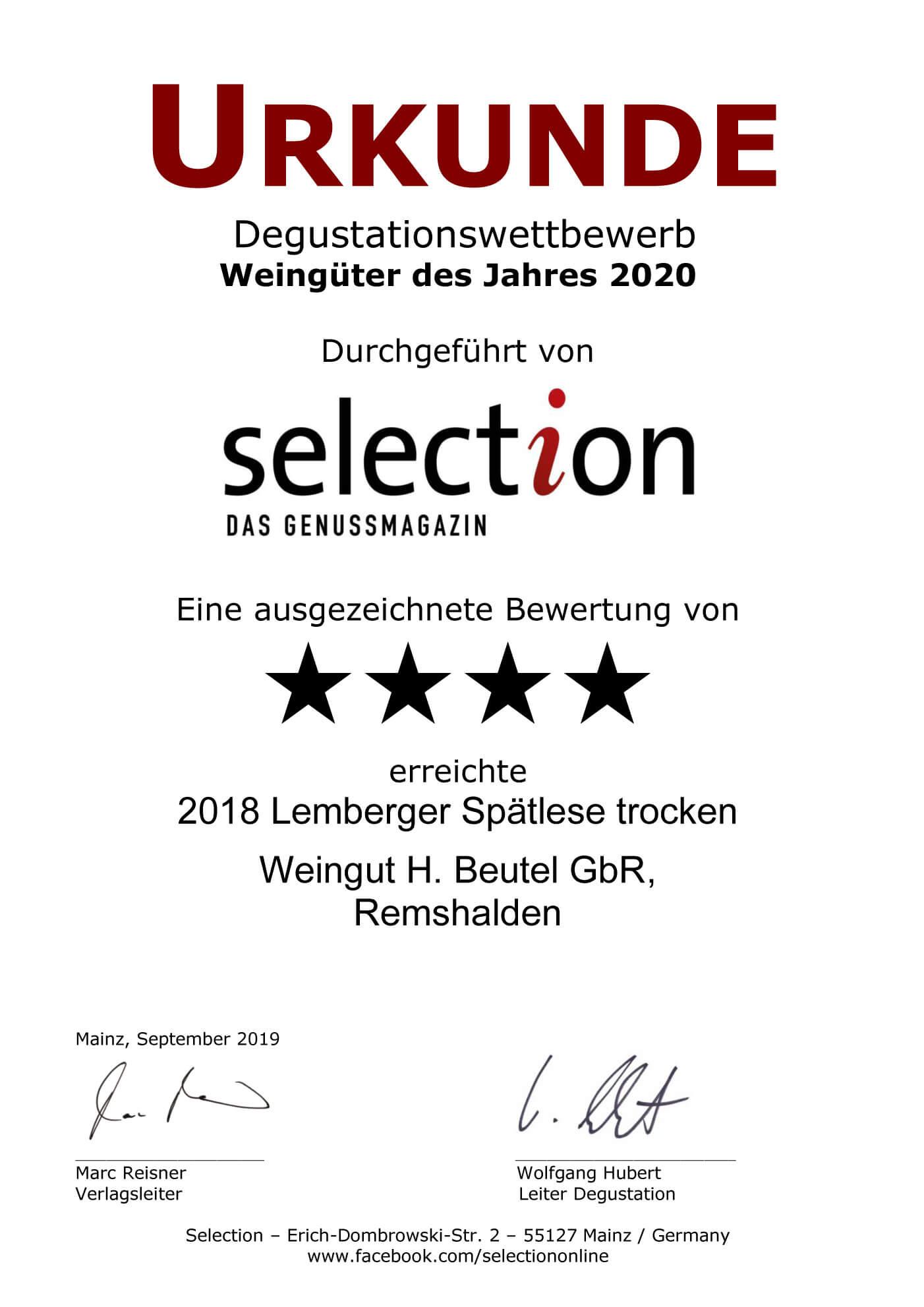 Urkunde Weingut 2020 - Lemberger Spätlese 2018