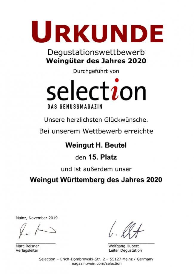 Urkunde Selektion Weingut Württemberg des Jahres 2020