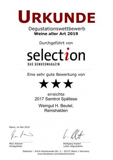 Urkunde SELECTION 2019 -SEHR GUT - Samtrot Spätlese 2017
