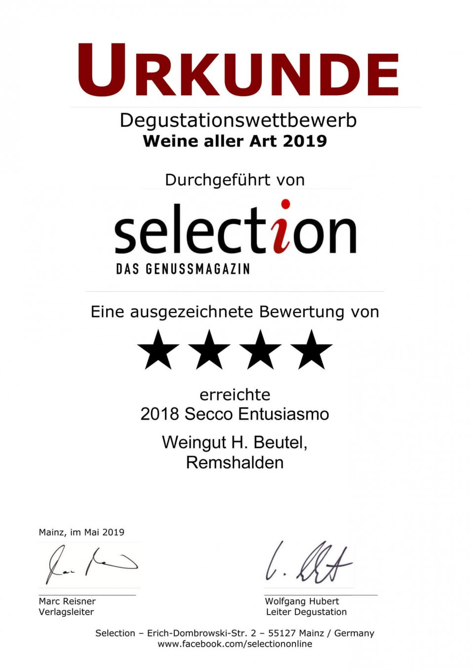 Urkunde SELECTION 2019 - Ausgezeichnet - Secco Entusiasmo 2018