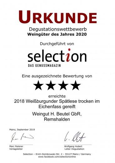 Urkunde Selection - Weissburgunder im Eichenfass gereift 2018