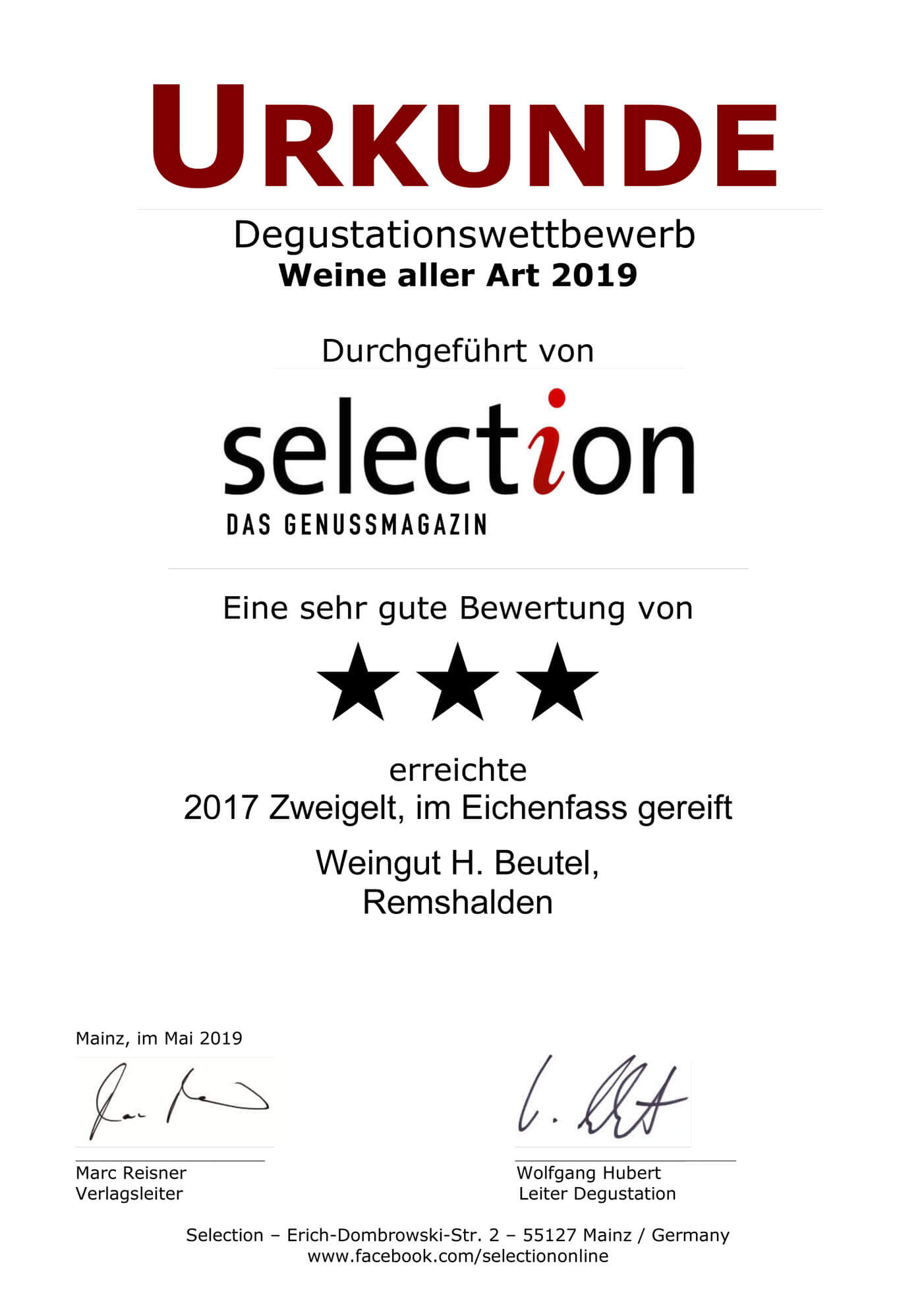 Selection Urkunde Zweigelt im Eichenfass gereift 2017
