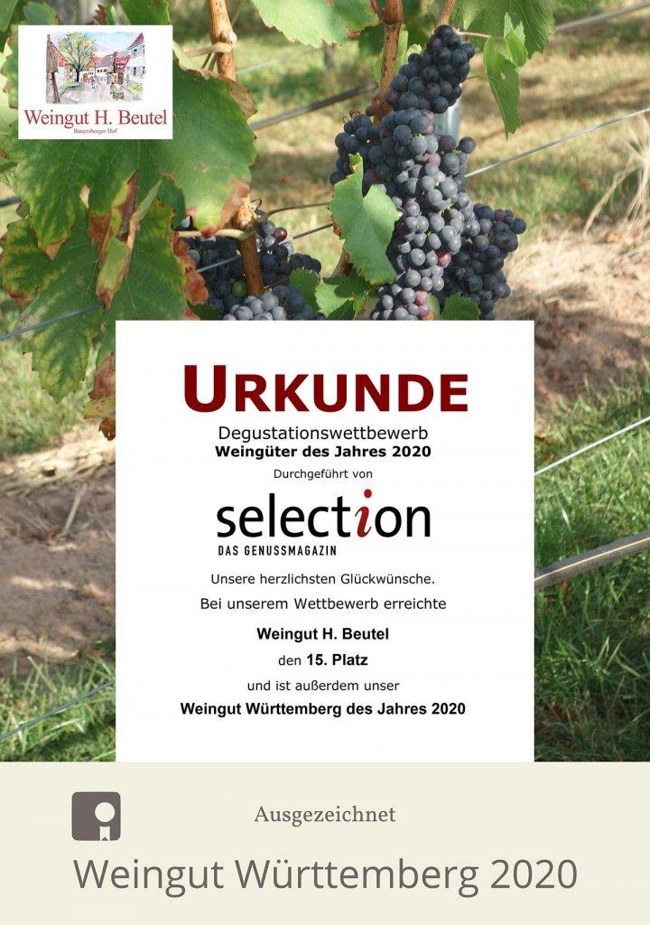 Urkunde Degustationswettbewerb Weingüter des Jahres 2020